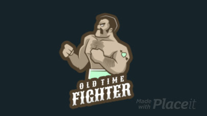 Fighting Game Logo Maker Featuring an Animated Muscled Wrestler Character 1872h-2936