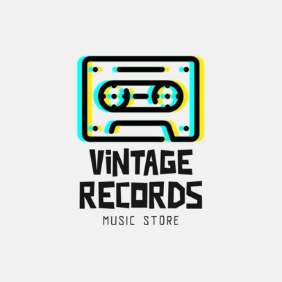 Music Store Logo Creator Featuring a Glitchy Cassette Clipart 814b-el1