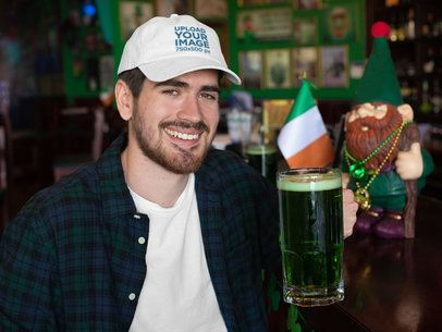 Dad Hat Mockup of a Man Drinking a Beer and Celebrating St. Patrick's Day 32142