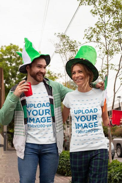 St. Patrick's Day Mockup of Two Friends Wearing T-Shirts and Celebrating 32115