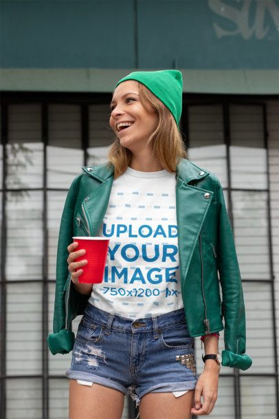 T-Shirt Mockup of a Woman Dress in Green for St. Patrick's Day 32120