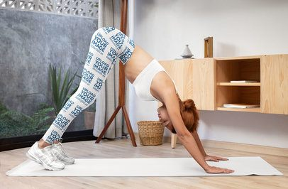 Leggings Mockup of a Woman Stretching at Home 31518