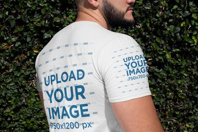 Closeup Mockup of the Back Side of a Man's T-Shirt 31481
