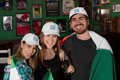 Dad Hat Mockup Featuring Three Joyful Friends Celebrating St Patricks Day 32146