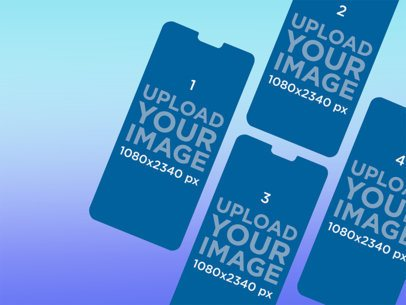 Mockup of Four Floating iPhone Screens Against a Customizable Background 2904