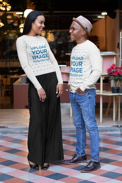 Long Sleeve Tee Mockup Featuring a Middle-Aged Man and a Woman Chatting outside a Restaurant 31633