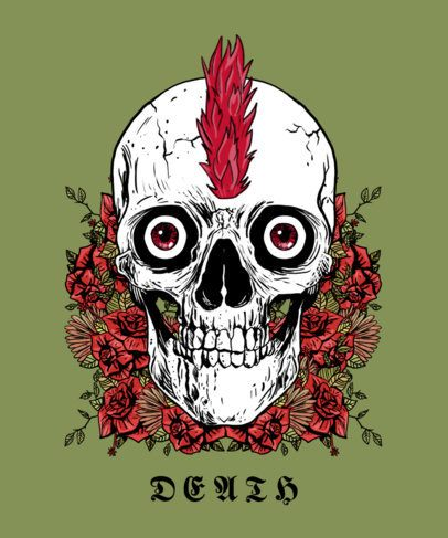 T-Shirt Design Creator Featuring a Skull with a Mohawk 2286c