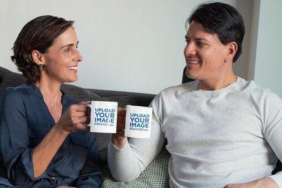 11 oz Coffee Mug Mockup of a Couple Drinking Coffee and Talking 31696