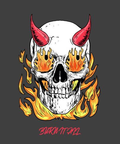T-Shirt Design Template Featuring a Horned Skull in Flames 2286e