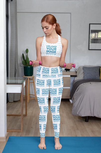 Sports Bra Mockup of a Woman Wearing Leggings and Exercising 31523