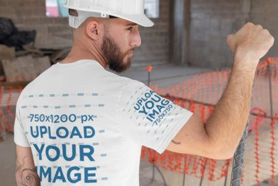 Back-View Mockup of a Worker Man Wearing a Tee with a Customizable Sleeve 31531
