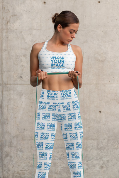 Sports Bra Mockup Featuring a Woman With High-Waisted Leggings Working Out 31501