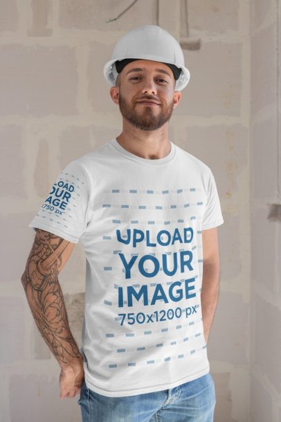 Mockup of a Man Wearing a T-Shirt with a Customizable Sleeve and a with a Construction Helmet 31532