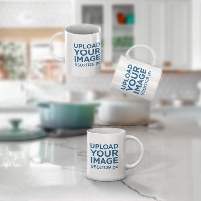 Mockup Featuring Three 11 oz Coffee Mugs Floating against a Blurry Background 2901