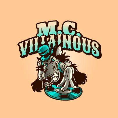 Logo Generator for a Streetwear Brand with a Villain DJ Wolf Cartoon 2956d