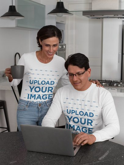 Long Sleeve Tee Mockup of a Couple Working on the Computer 31691