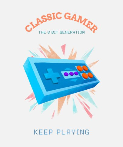 T-Shirt Design Template Featuring a Vintage Gaming Controller 2284c