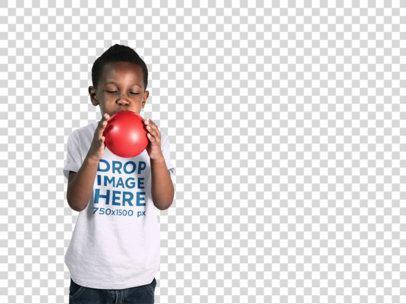 T-Shirt Mockup of a Little Boy Blowing Up a Balloon a12071