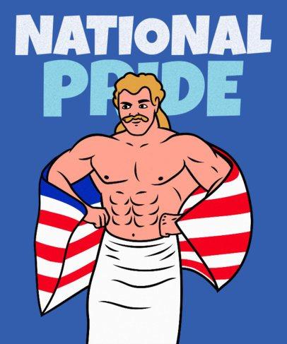 T-Shirt Design Maker Featuring a Proud American Wrestler 2279h