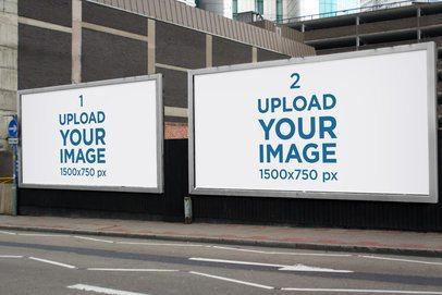 Mockup Featuring Two Billboards Placed by a Sidewalk 2872-el1
