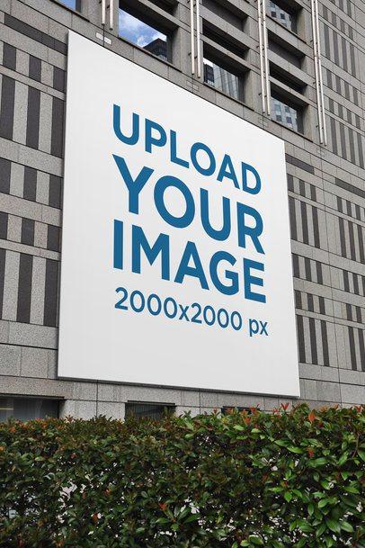 Mockup of a Square Billboard on a Concrete Building 2876-el1