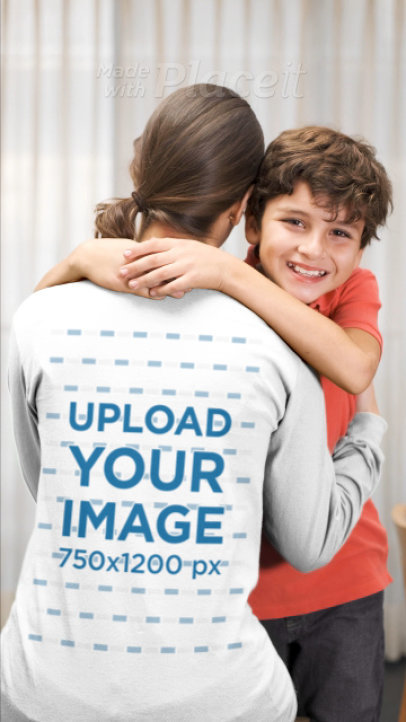 Back-View Long Sleeve Tee Video Featuring a Mother and Her Son 32334