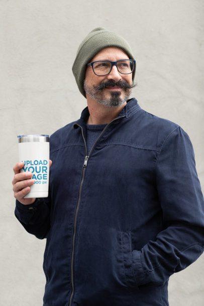 Travel Mug Mockup of a Middle-Aged Man with a Stylish Moustache 31722