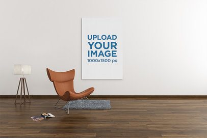 Mockup Featuring an Art Print Hanging by a Modern Chair and a Floor Lamp 2535-el1