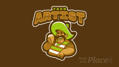 Logo Template Featuring an Animated Man Eating a Taco 484u-2964