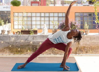 Mockup of a Man Wearing a Tank Top and Doing Yoga at a Balcony 31111