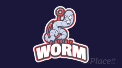 Animated Mascot Logo Maker Featuring an Aggressive Worm Cartoon 1651r-2964