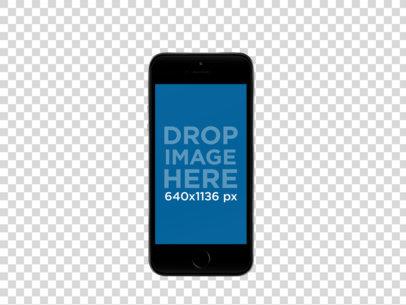 Black iPhone SE in Portrait Position Over a Transparent Background a12163