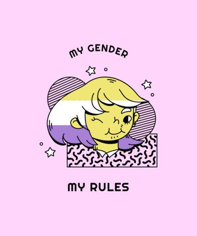 T-Shirt Design Template with the Non-Binary Flag Colors 2259c