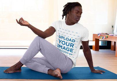 Mockup of a Young Man Doing Yoga with a Crewneck T-Shirt 31104