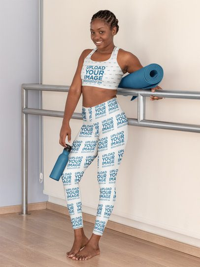 Sports Bra Mockup Featuring a Woman Wearing Leggings at a Yoga Studio 31097