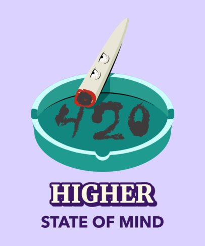 T-Shirt Design Template Featuring a 420 Ashtray Graphic 2257c