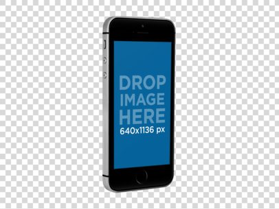 Black iPhone SE Mockup in Angled Portrait Position a12159