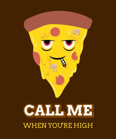 Cannabis Culture T-Shirt Design Maker Featuring a Pizza Character Smoking 2257d