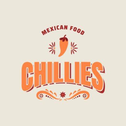 Mexican Restaurant Logo Template Featuring a Chilli Clipart 2976e