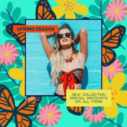 Instagram Post Template for Fashion Brands Featuring Colorful Illustrated Backgrounds 2309