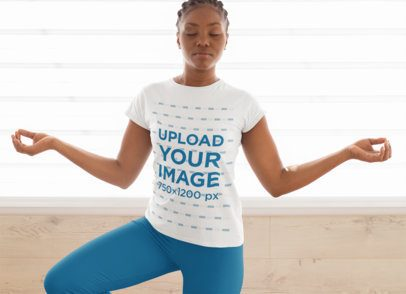 T-Shirt Mockup Featuring a Woman Doing the Tree Pose 31093