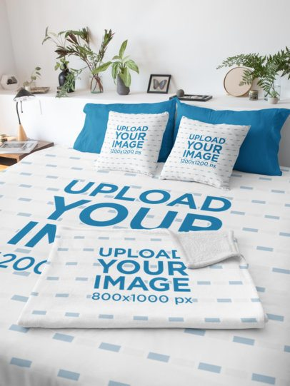 Duvet Cover Mockup Featuring a Blanket and Two Pillows 31290