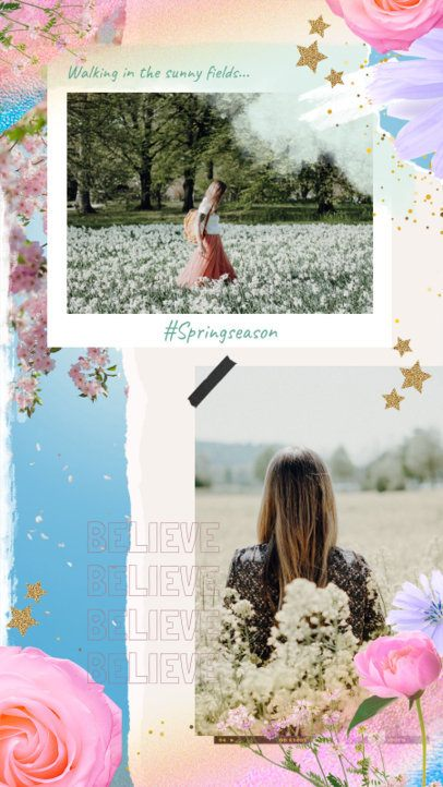 Instagram Story Template Featuring Spring-Themed Picture Frames 2308