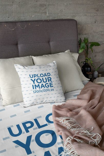 Mockup of a Duvet and a Pillow Placed on a Tidy Bed 31319