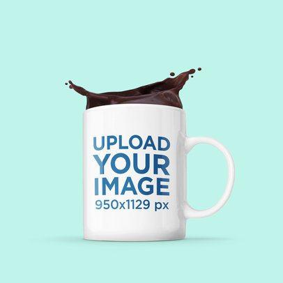 Mockup of an 11 oz Mug with Splashing Coffee 2956-el1