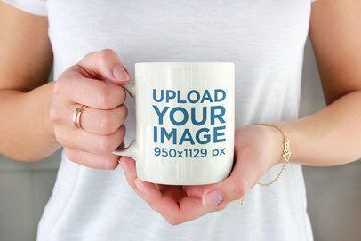 Drinkware Mockup of a Woman Holding an 11 oz Coffee Mug 2954-el1