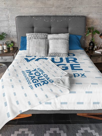 Mockup of a Bed with a Duvet Cover and a Blanket on Top 31293