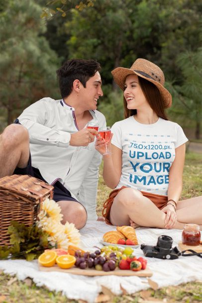 T-Shirt Mockup Featuring a Happy Couple Having a Picnic at the Park 32286