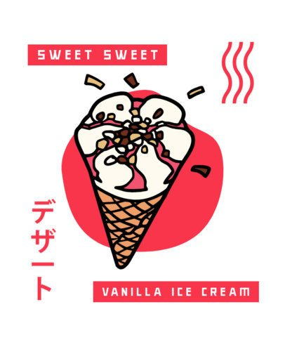 Kawaii T-Shirt Design Maker with a Vanilla Ice Cream Illustration 311a-el1