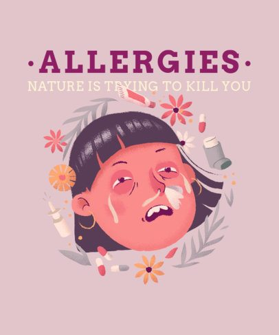 Funny T-Shirt Design Generator with an Allergic Girl 2303b